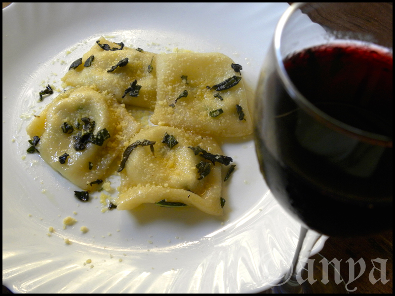 Four cheese ravioli in butter sage sauce.